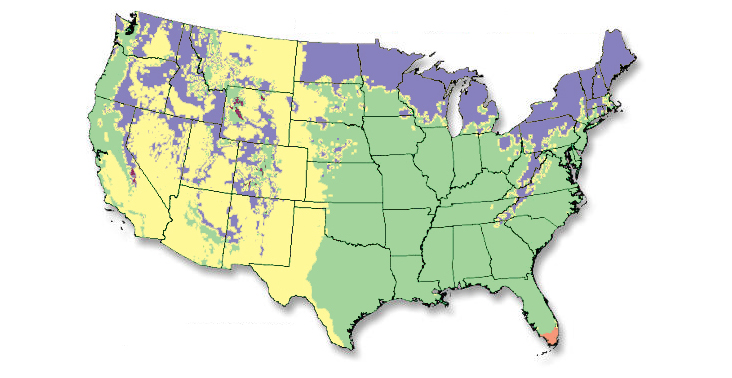 an illustration of a US map showing the different climate zones in different pastel colors