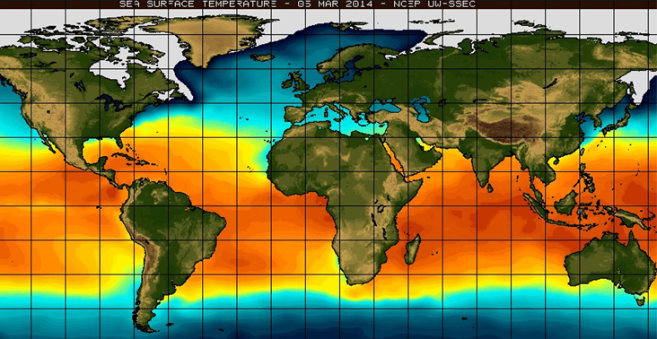 heat map of the Earth showing warmer regions near and below the equator.