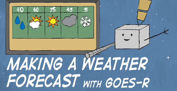 Cartoon of GOES-R satellite in front of a 5 day forecast. Text reads: Making a Weather Forecast with GOES-R