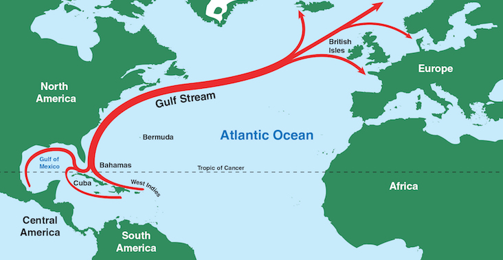 illustration of the Gulf Stream flowing from the Gulf of Mexico to the British Isles
