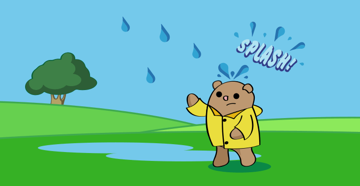 Cartoon illustration of Bill the groundhog wearing a rain jacket in the rain.