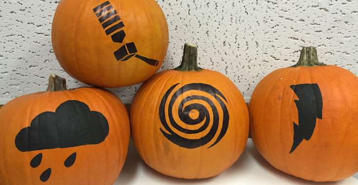 photo of pumpkins painted with SciJinks designs
