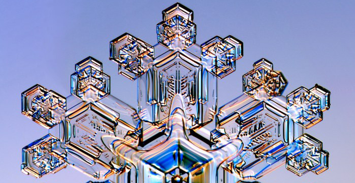 close-up view of a snowflake