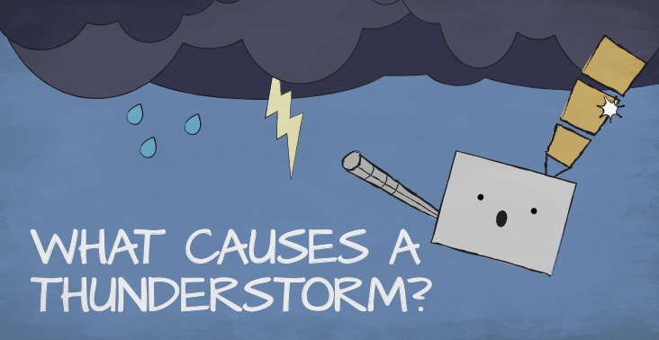 Cartoon illustration of a GOES-R series weather satellite in a thunderstorm with text reading WHAT CAUSES A THUNDERSTORM.