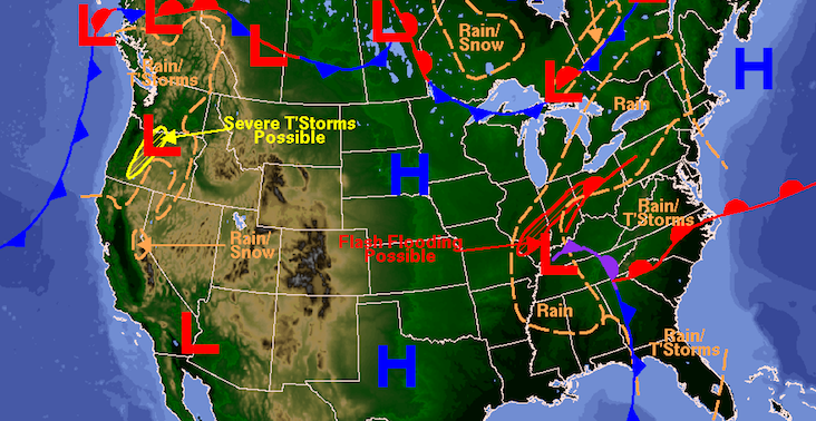 An image of a weather forecast map from the National Weather Service.
