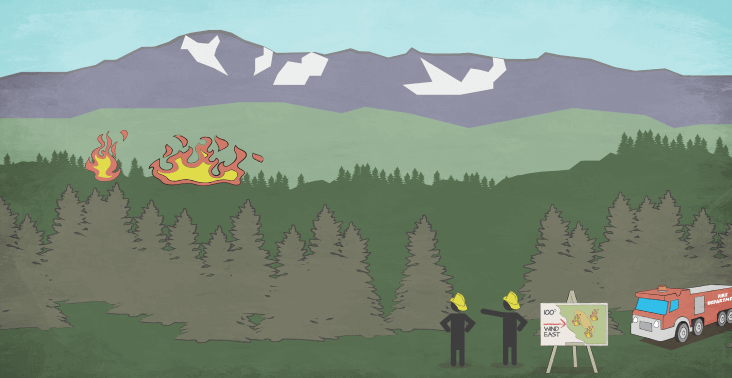 Cartoon illustration of firefighters looking toward a wilfire.