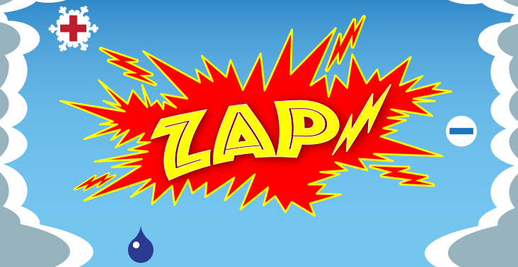 an illustration of the sky and the ground that says Zap!