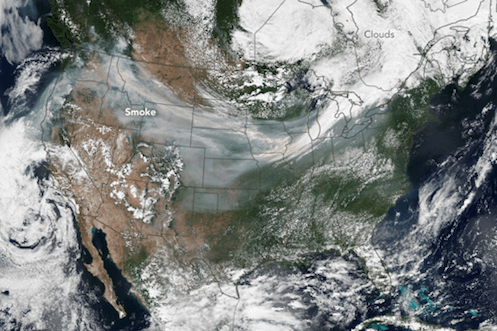 The image mosaic on the left of the slider bar shows visible smoke from wildfires on the West Coast of the blowing eastward across the United States. The image to the right of the slider bar shows the concentrations of airborne particles, or aerosols, from the fires that were swept west to east.