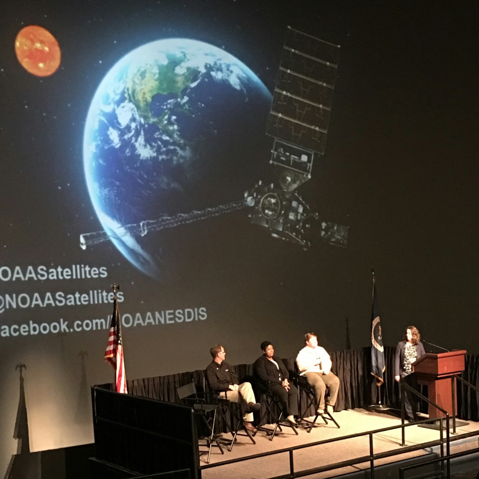 Dr. Jamese Sims (Center), GOES-R Subject Matter Expert serving as a panelist for the November 18, 2017 Guest Briefings at the GOES-R Launch, in Cape Canaveral, Florida.