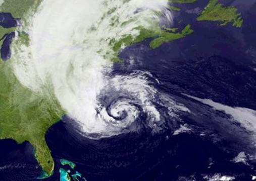 Satellite images of hurricane Sandy.