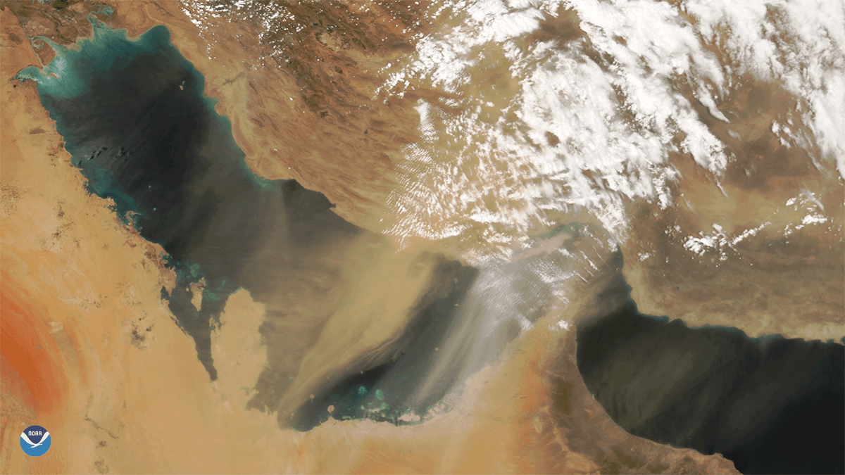 NOAA-20 weather satellite image of a large dust storm over the Persian Gulf on May 13, 2018