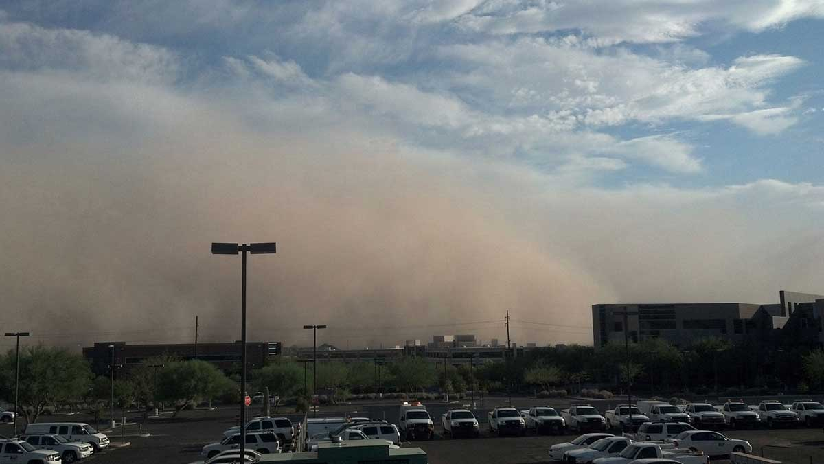 A dust storm approaches downtown Phoenix