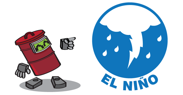 Graphic logo of el niño and lightning.