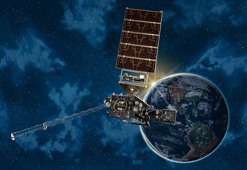 Artwork of GOES-R series weather satellite orbiting far above Earth.