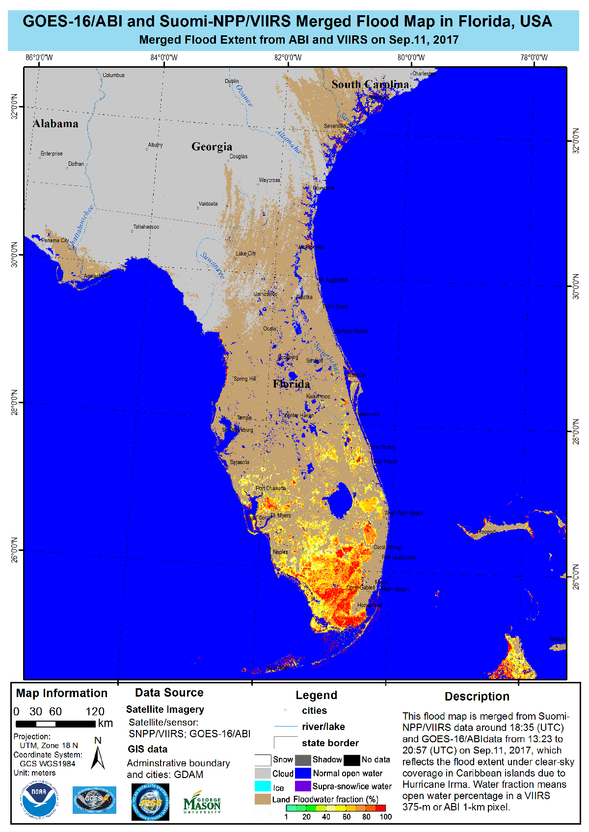 This flood map shows the impact of Hurricane Irma in Florida on Sept. 11, 2017. Colors correspond to the fraction of land covered by water, ranging from green (less than 30 percent) to red (more than 90 percent).