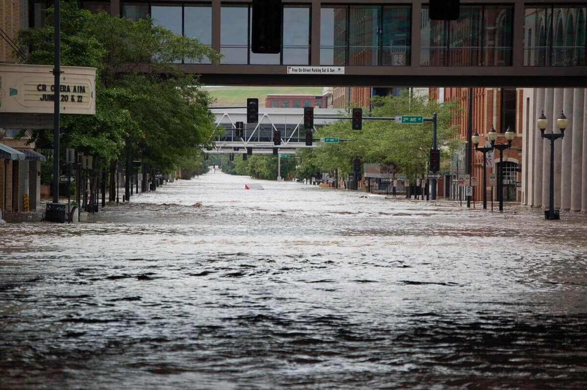Flooding in the streets of downtown Cedar Rapids, Iowa.