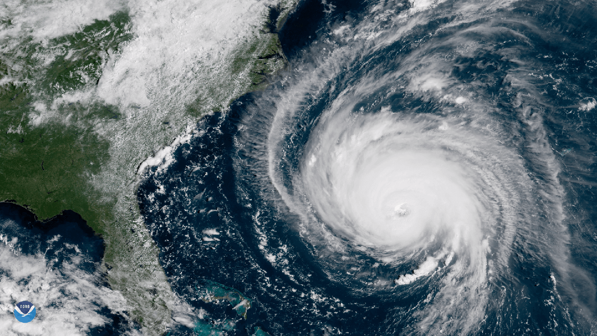 Image from NOAA's GOES-East satellite that shows Hurricane Florence moving toward the Southeastern U.S. in September 2018.