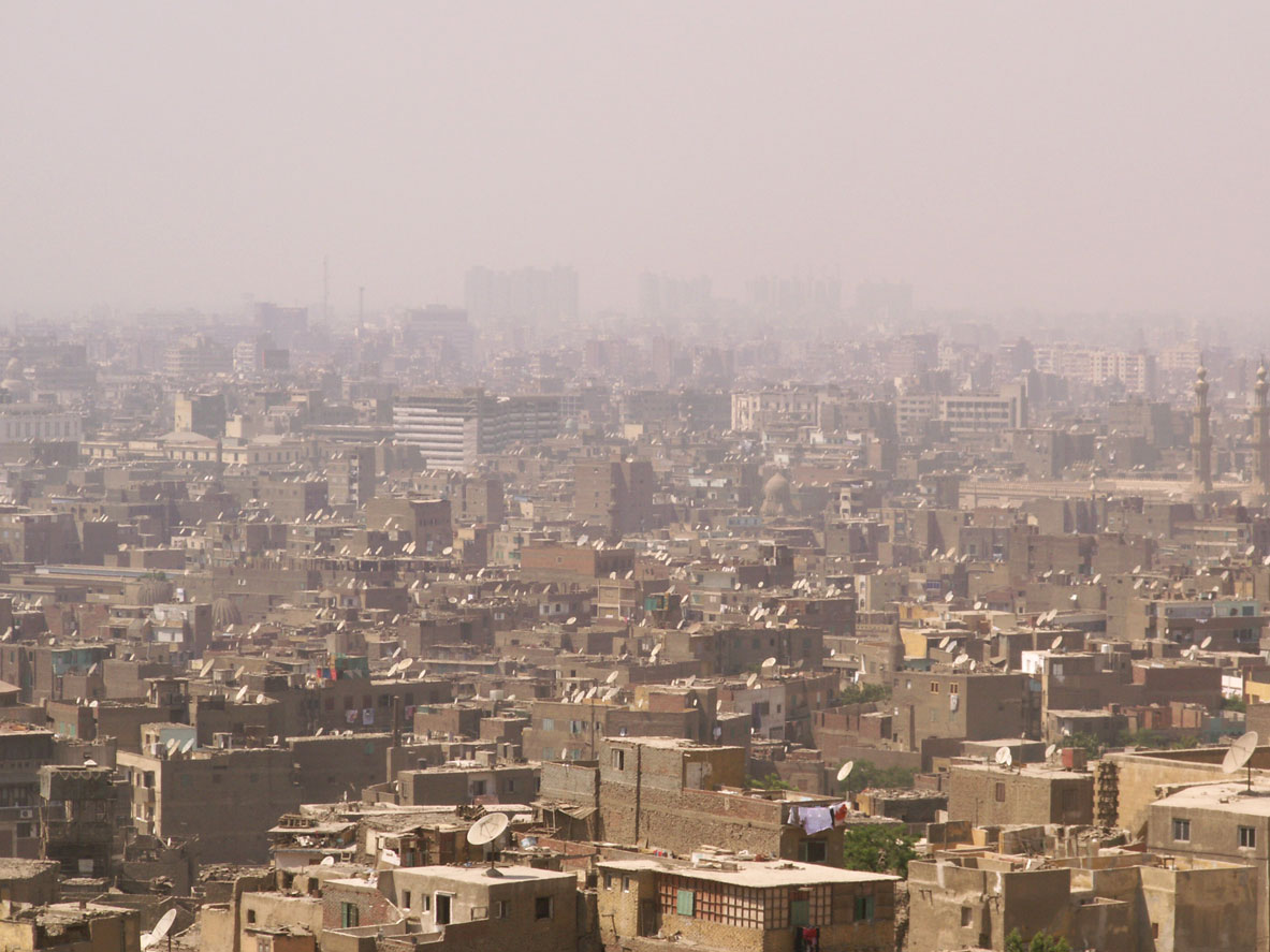 The Egyptian city of Cairo covered in a dense smog