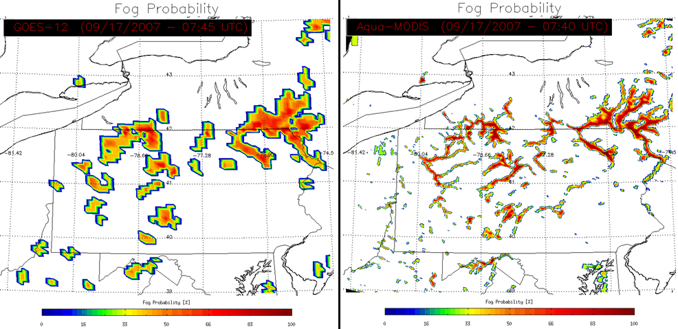a comparison of low resolution and high resolution fog prediction images