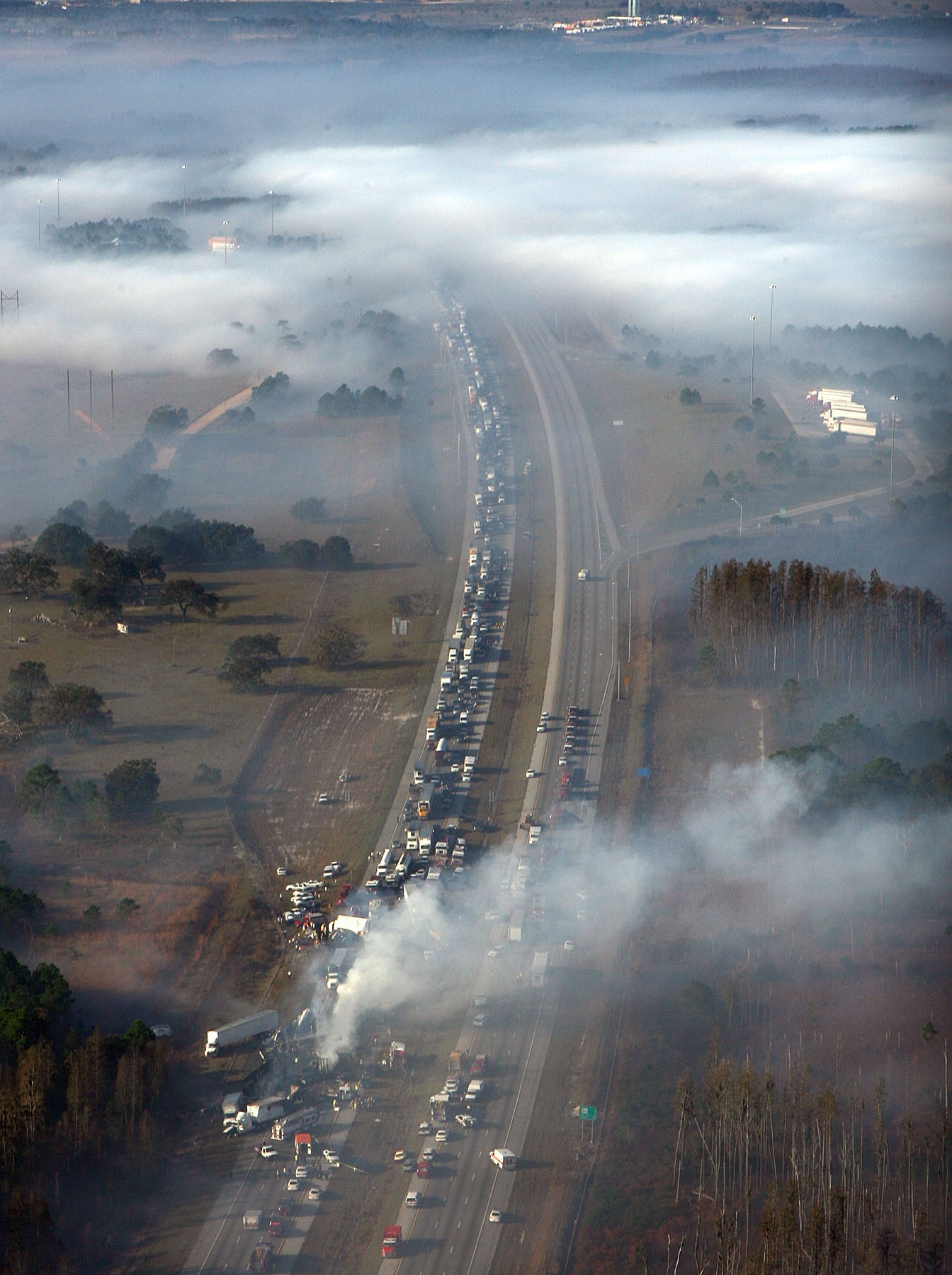 An image of a massive car accident caused by a superfog
