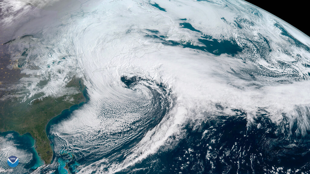 An image of a Nor'easter off the coast of New England captured by a NOAA geostationary satellite called GOES-East. Credit: NOAA
