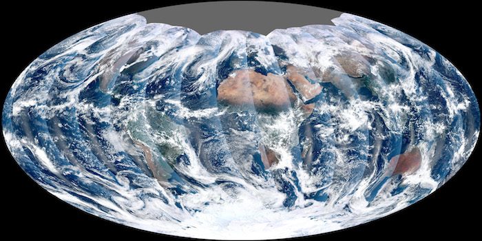 A complete view of Earth captured by a polar-orbiting satellite
