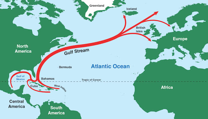 an illustration of the Gulf Stream beginning in the Gulf of Mexico and ending near the British Isles