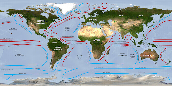 a world map showing the five oceanic gyres and how they impact ocean circulation