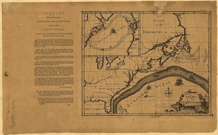 A chart of the Gulf Stream created by Benjamin Franklin and James Poupard