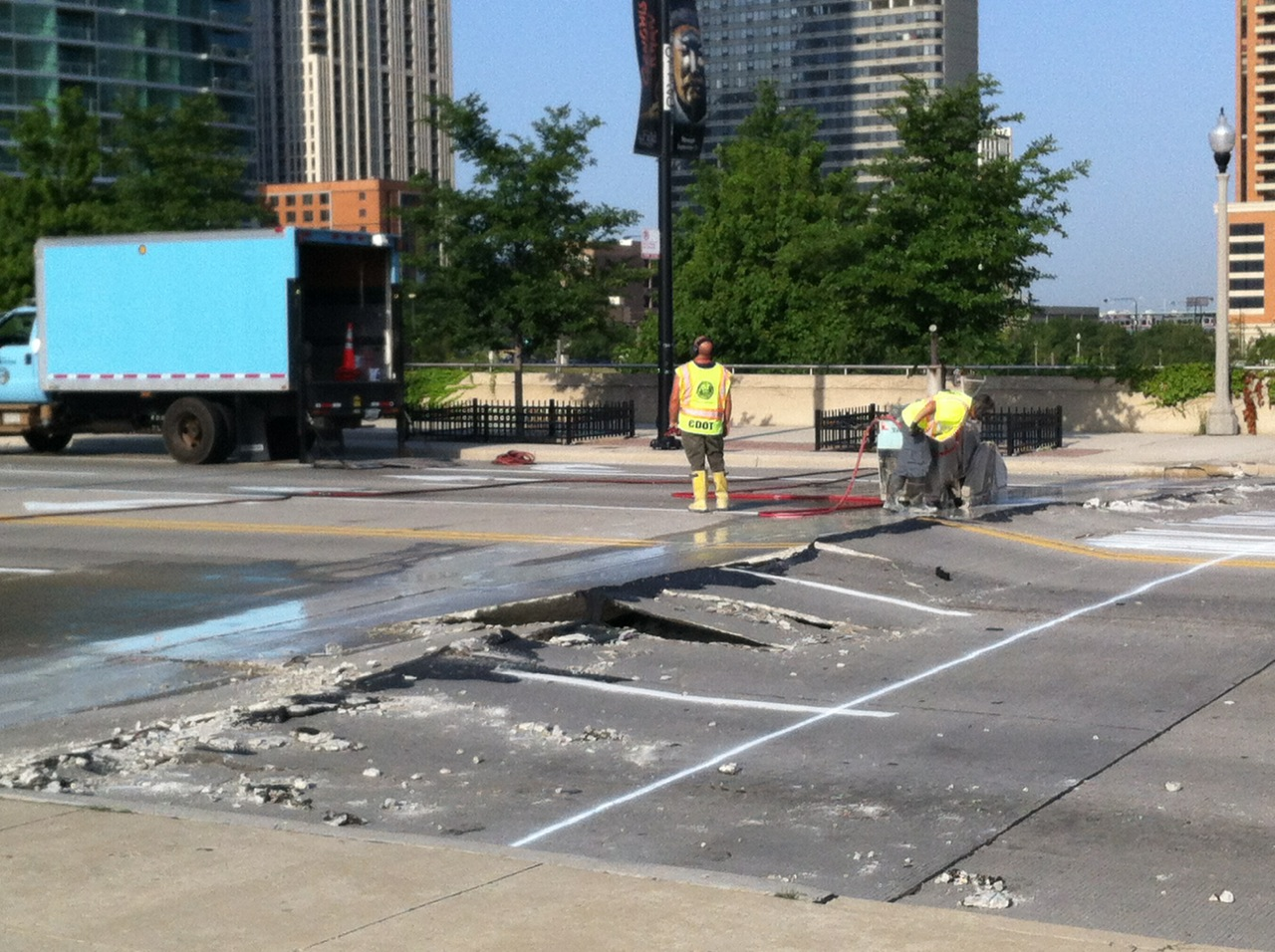 Photo of a road damaged by heat in Chicago.