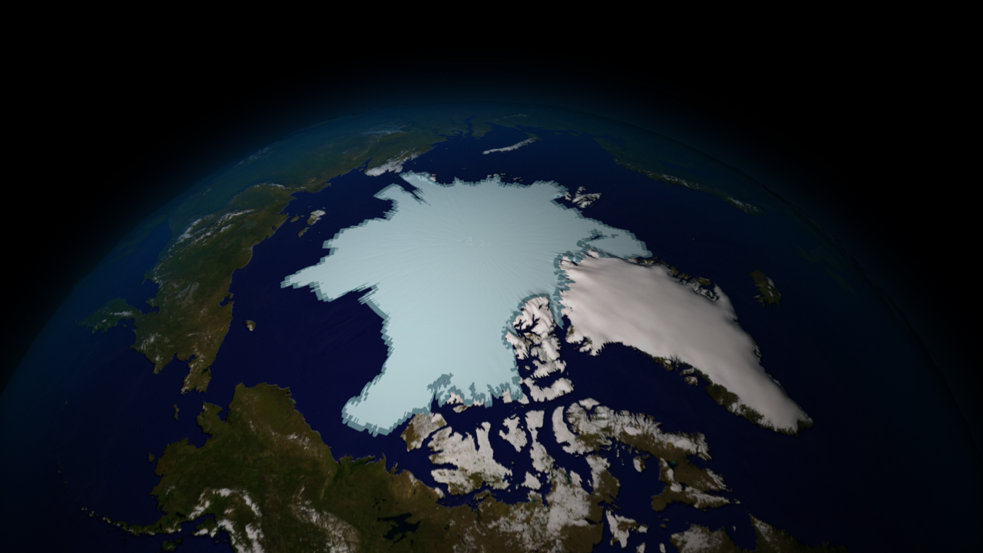Satellite generated image of sea ice from 2009