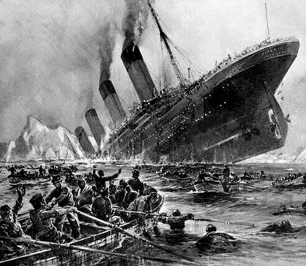 Artist's conception of the sinking Titanic.