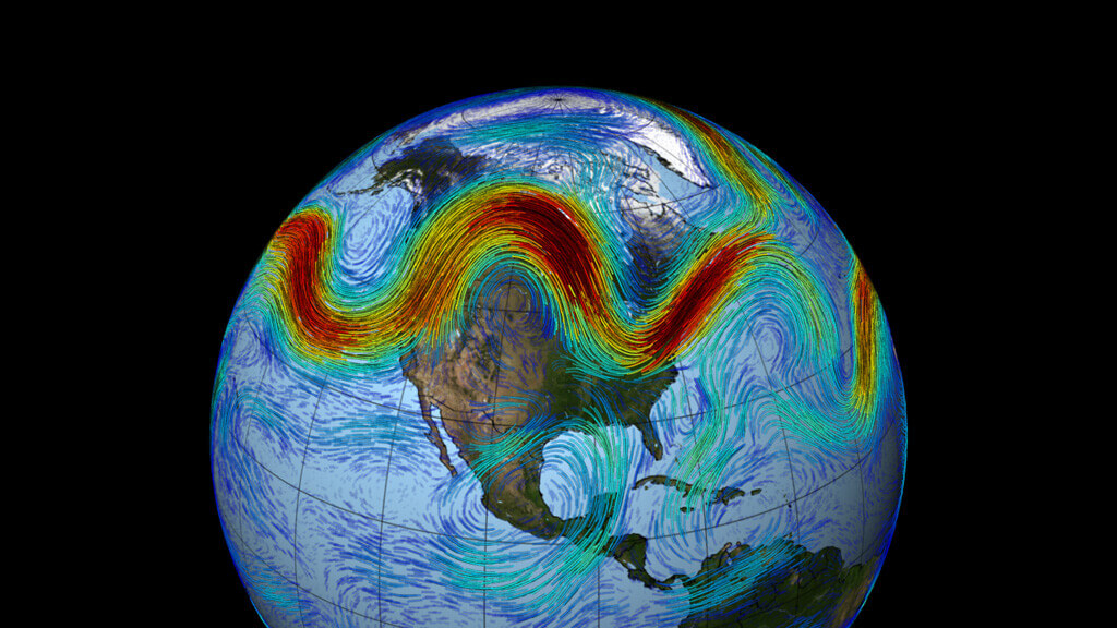 A visualization of the Northern Hemisphere's polar jet stream swirling weather patterns from west to east across North America.