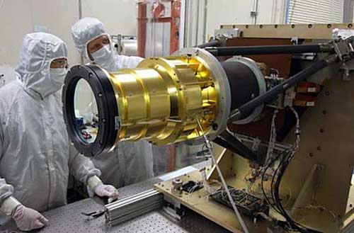 photograph of engineers installing GLM on GOES-R.