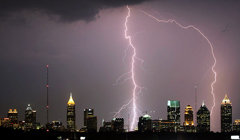 Photo of lightning over Atlanta