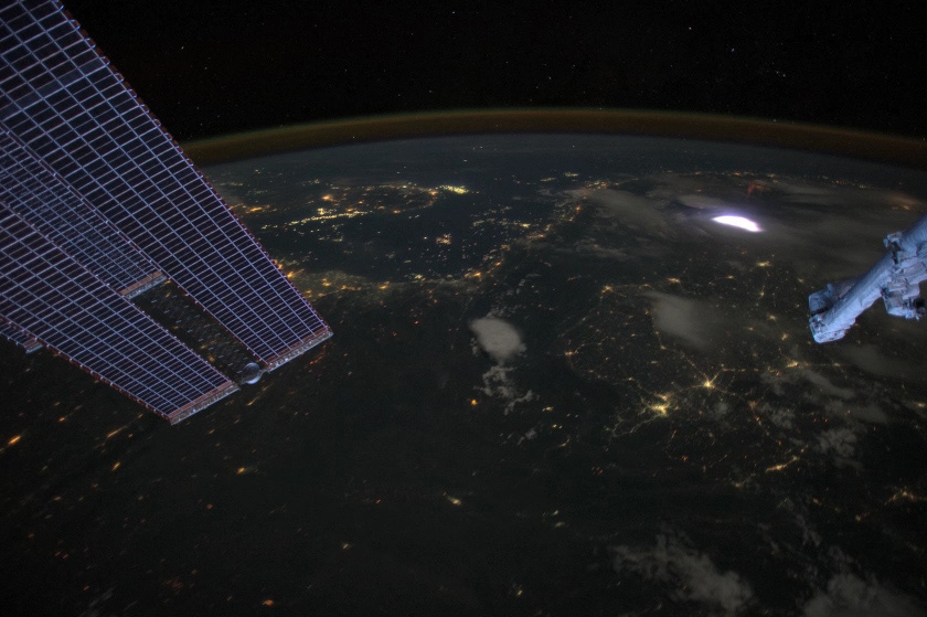 Photo of a lightning storm from the ISS.