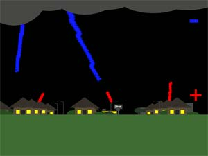 Still image from animated drawing showing lightning descending from cloud and positively charged streamers reaching up from tall objects on the ground.