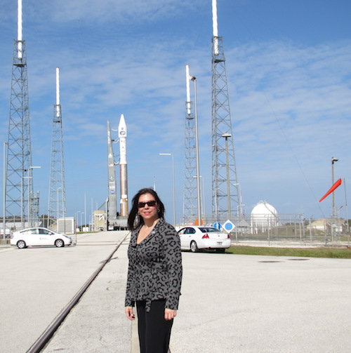 Calero stands at the launchpad shortly before the launch of the TDRS-K spacecraft at Kennedy Space Center.
