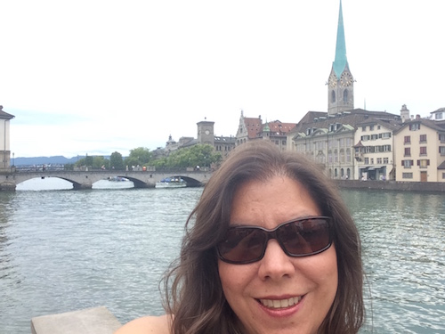 In her spare time, Calero loves to kayak with her kids, and she enjoys traveling abroad. Here she is in Switzerland--her favorite country in Europe.