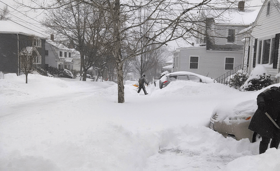 A photograph showing snowfall from a January 2015 nor'easter in Watertown, Massachusetts.