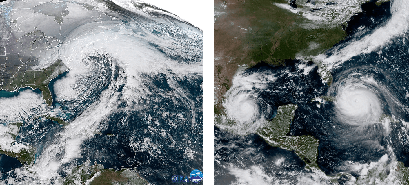 side by side photographs of a noreaster on the left and two hurricanes on the right