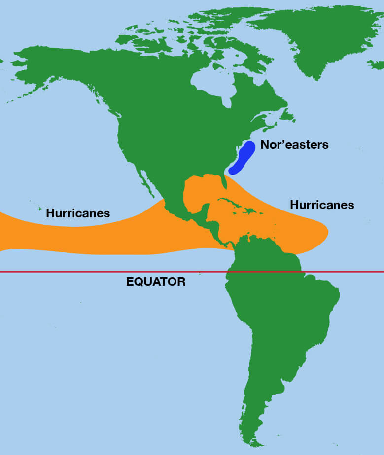illustration of a map of North and South America showing that hurricanes form in the tropics and noreasters form further north near the northeastern United States