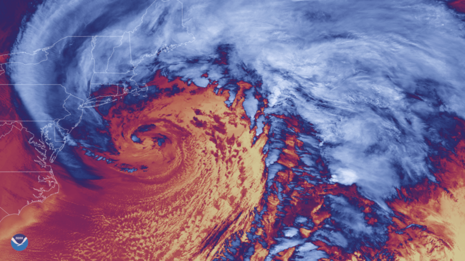 a satellite image of a noreaster with colors representing differences in heat