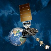 A rendering of the GOES-R spacecraft