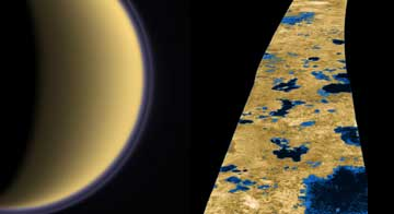 Titan's atmosphere hides the lovely lakes on its surface.