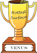 Cartoon trophy for hottest surface goes to Venus.