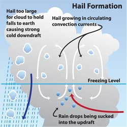 Diagram of hail stones forming in a cumulonimbus cloud.