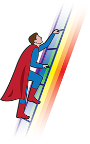 Cartoon of a superhero in a red cape climbing up a rainbow ladder.