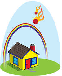 Cartoon of little house under a rainbow, with two flaming asteroids falling fromt he sky.