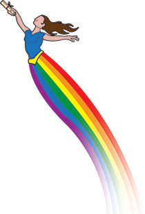Cartoon of lady with lang flowing skirt with rainbow colors slies through the sky.